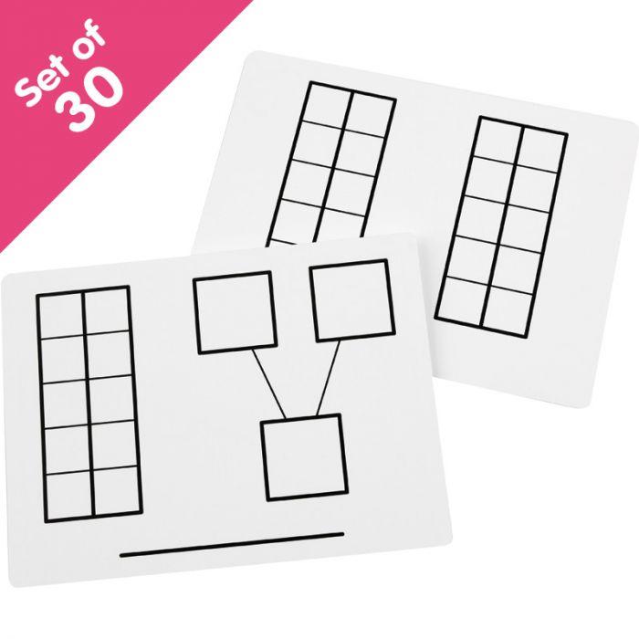 Write On Wipe Off Ten Frame Mats Set Of 30 Bulk Pricing
